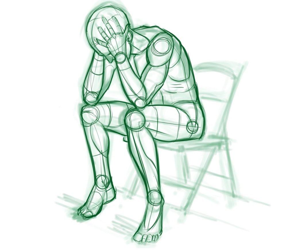 Drawing of a depressed man crying.